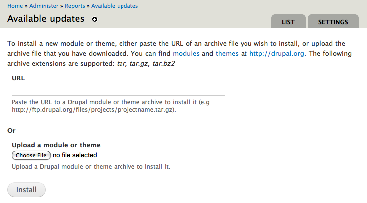 Screenshot of the Update manager new installation page