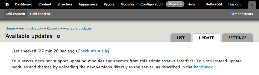 Explain that the Update manager only works if you have FTP or SSH