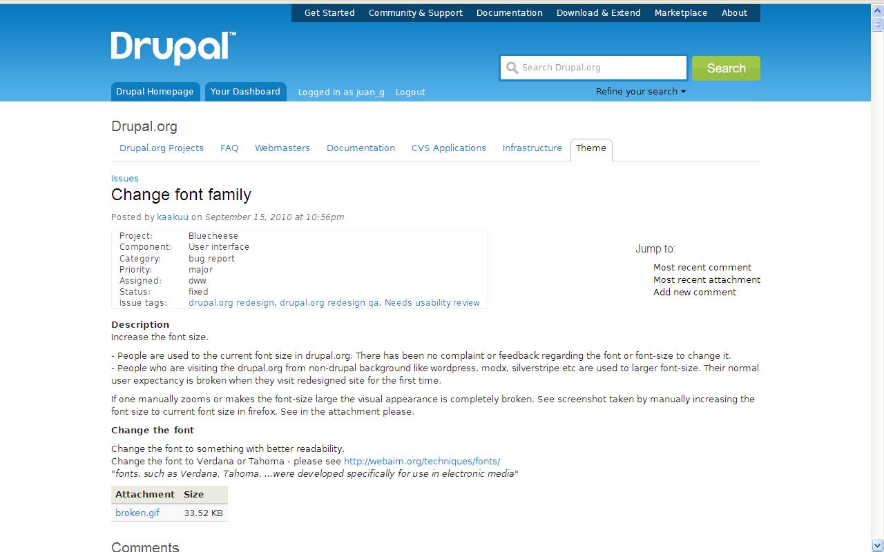 Change font family [#912936] | Drupal org