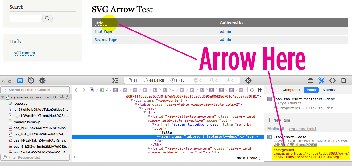 Replace arrow-asc and arrow-desc images with Libricons and