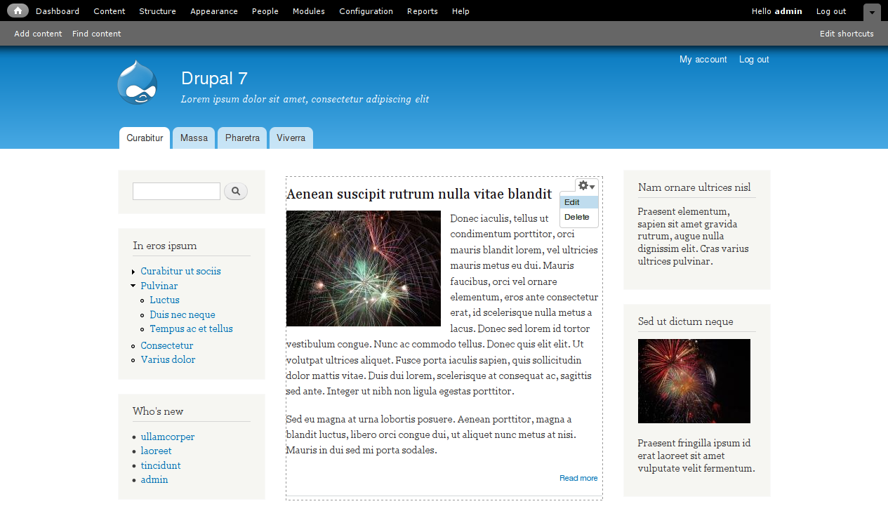 Drupal - The New Drupal 7 User Interface Showing Off A Variety Of New Features