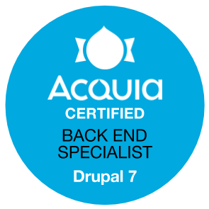 Acquia Certified Back End Specialist - Drupal 7 Badge