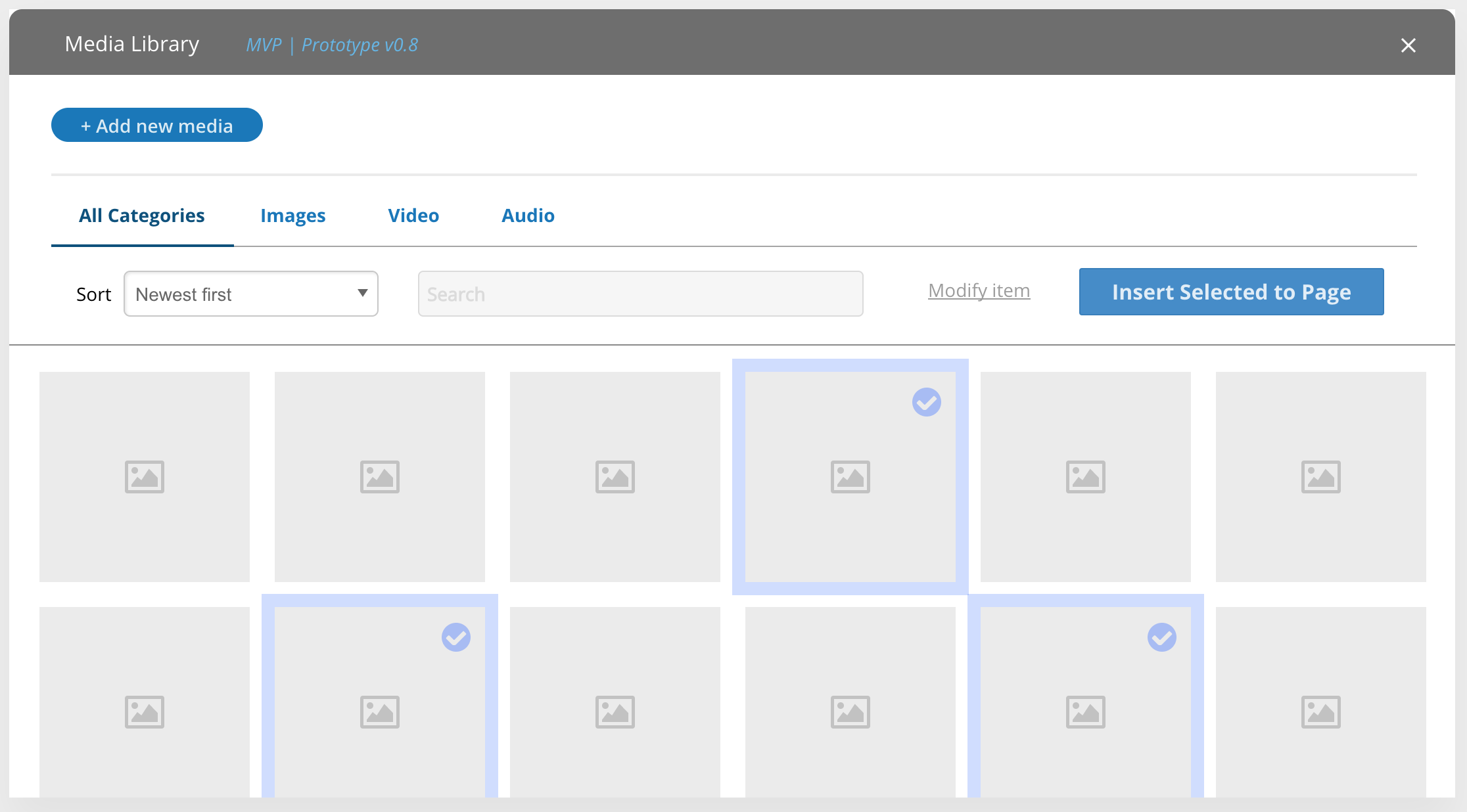 prototype] Create design for a Media Library [#2796001