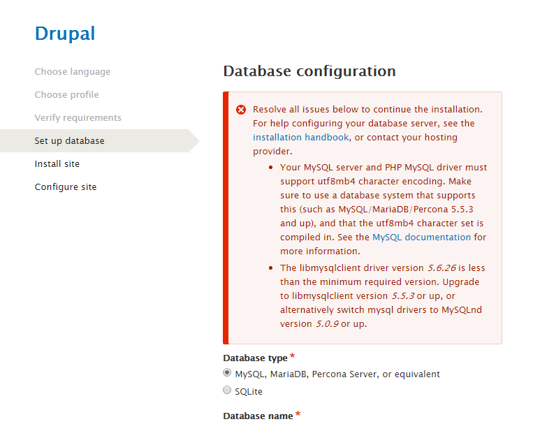 The MySQL driver library requirements failure on