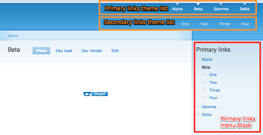 Drupal primary and secondary menus.png