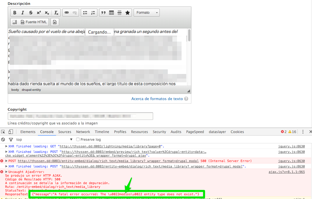 AJAX errors when embedding entities with Entity Browser with