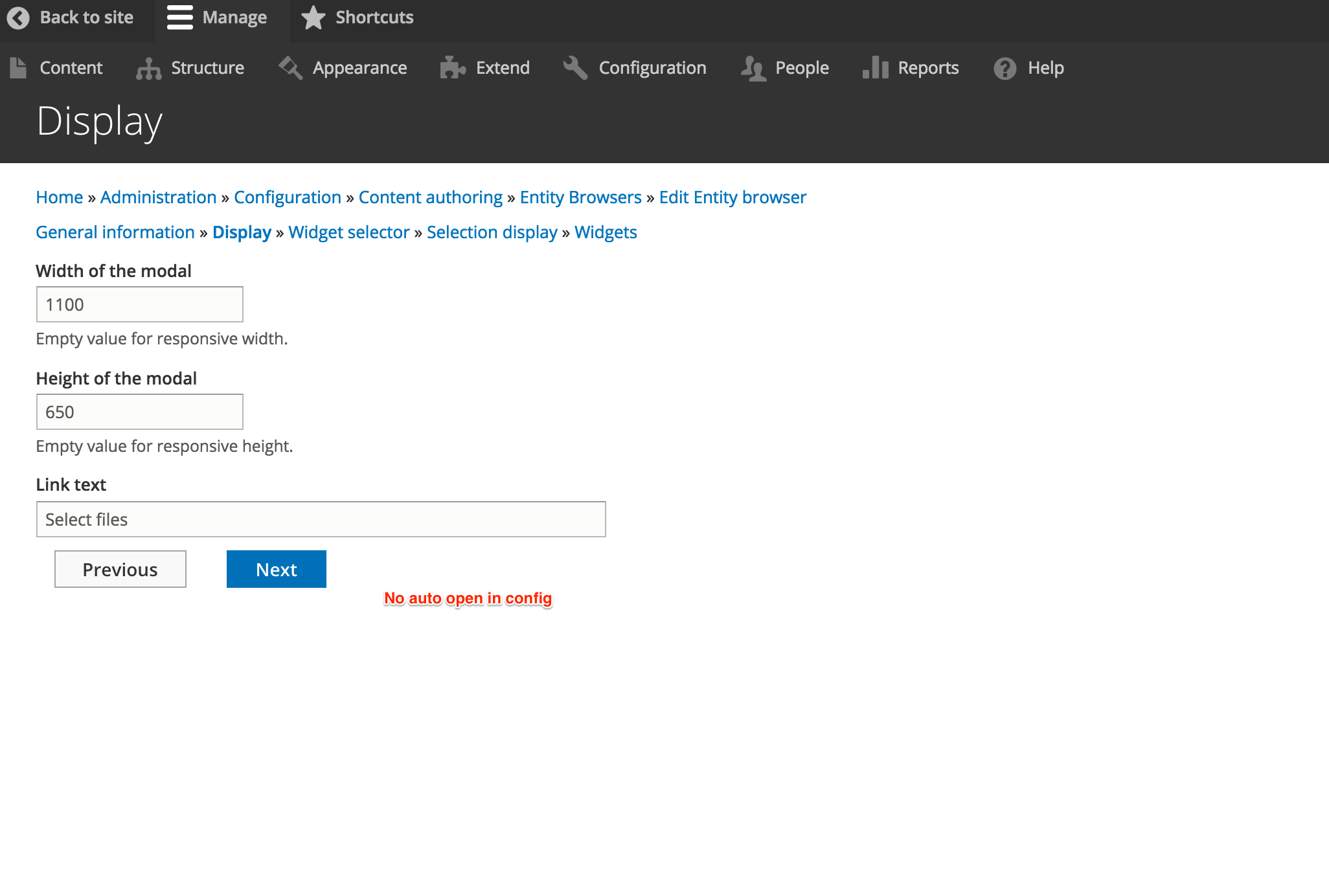 Open entity browser with one click from Entity Browser IEF