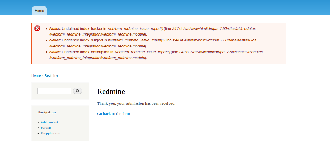 D7] Webform Redmine [#2744549] | Drupal org