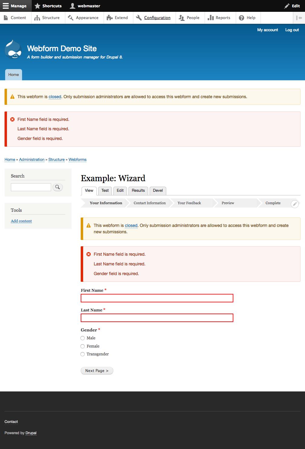 Message block under wwebform progress bar [#2840263] | Drupal org