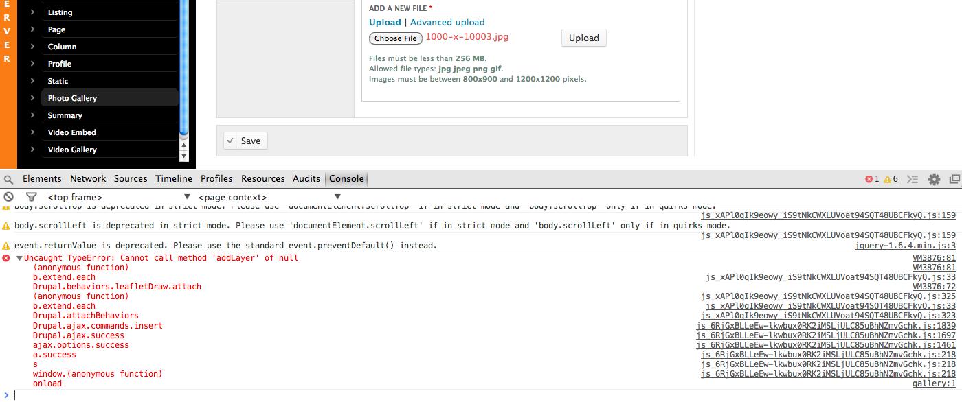 Uncaught TypeError: Cannot call method 'addLayer' of null