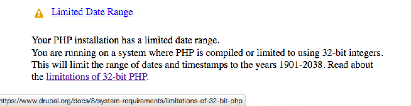 2038 bug with PHP timestamps on 32-bit systems - warn users