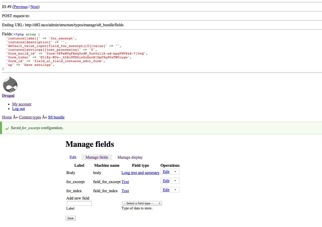 shot of manage fields mid-test