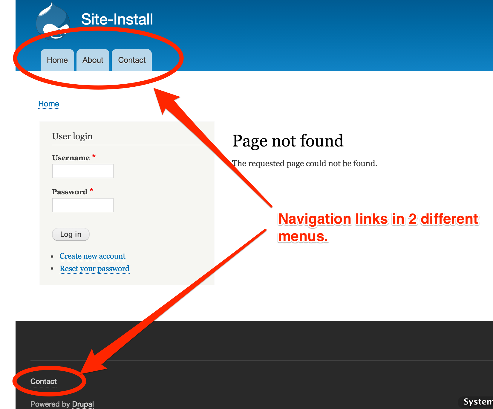 No navigation links on 404 pages 233807 drupal 74 pagenotfoundsite installg pronofoot35fo Gallery
