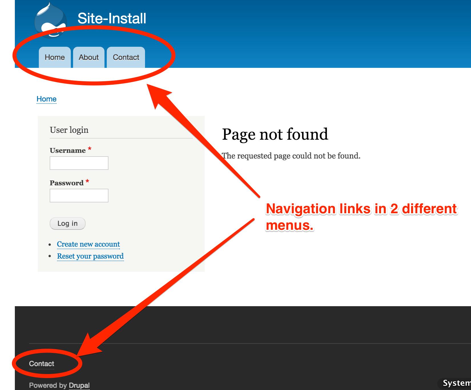 No navigation links on 404 pages [#233807] | Drupal.org