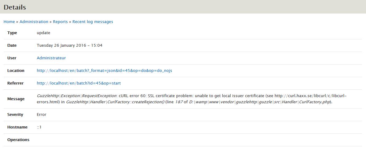 Getting update info results in RequestException : cURL error 60: SSL