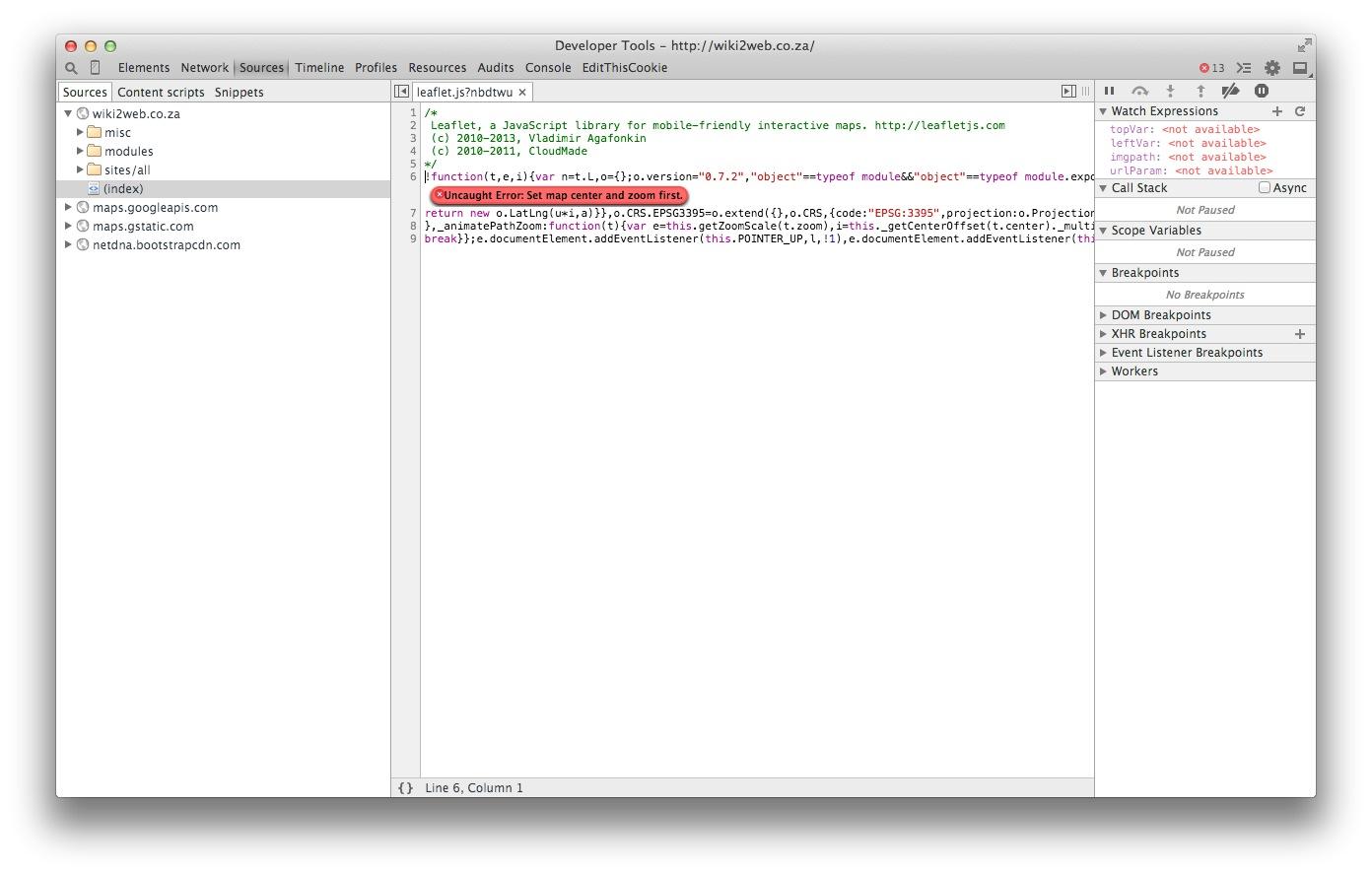 Error: leaflet js Set map center and zoom first [#2334609