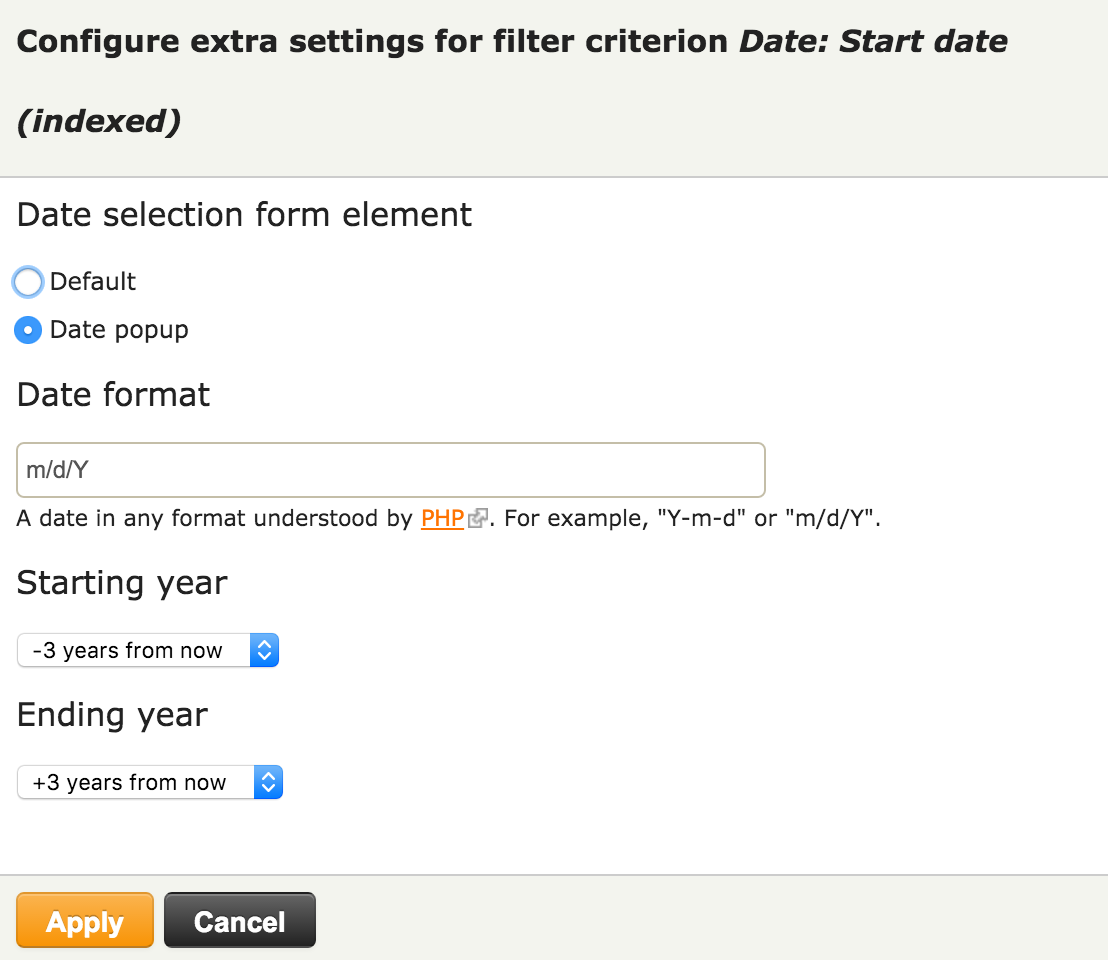 Allow changing the views exposed filter date format when using i dont think there is a need for validation since its handled by the date popup widget see example screenshot and new patch added sciox Images