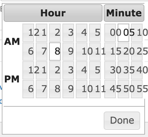 Time picker numbers wrap and display across multiple lines