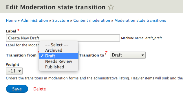 Edit page for moderation state transition