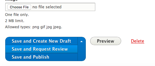 Choose 'Save and request review' drop button option