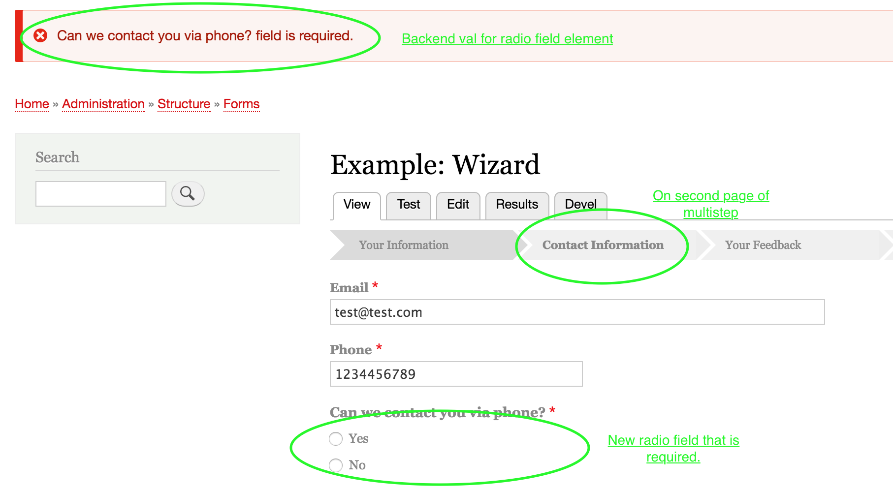 Form + wizard pages doesn't work well with required fileds