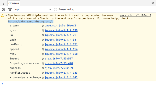 Synchronous XMLHttpRequest on the main thread is deprecated because