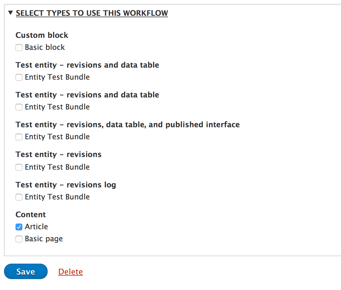 Select entity type / bundle in workflow settings [#2843083