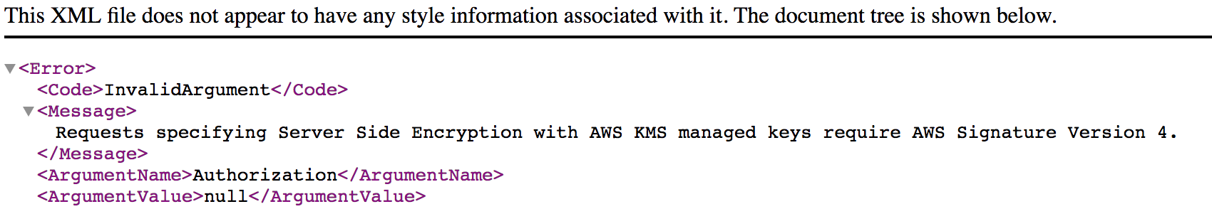 Requests specifying Server Side Encryption with AWS KMS