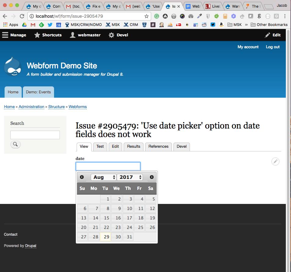 Use date picker' option on date fields does not work