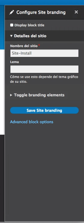 Site name block in sidebar, with extra fields