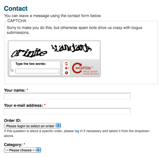 Captcha appears at top of contact form when UC Ticket module is ...