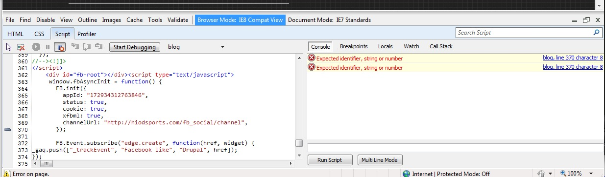 Javascript error in IE7: No comma after the last item in the