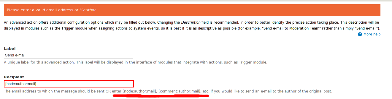 Custom E Mail Action Fails To Accept Token Nodeauthormail Or