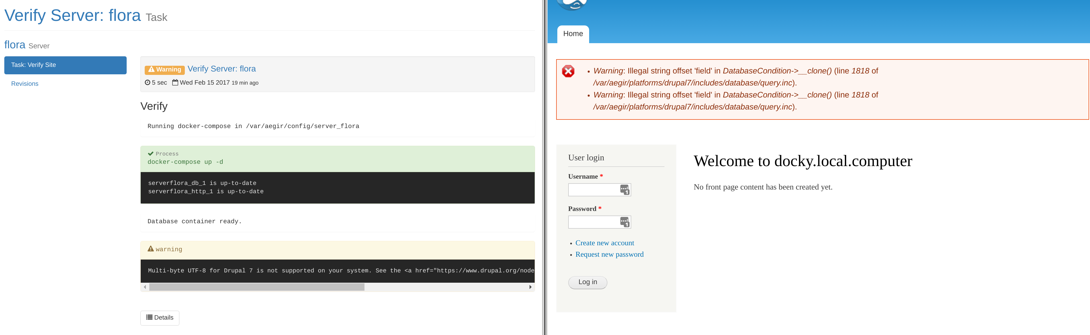 Screenshot of the first drupal install in aegir docker containers.