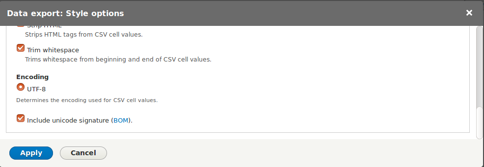 CSV export UTF-8 & windows - BOM [#2859342]   Drupal org