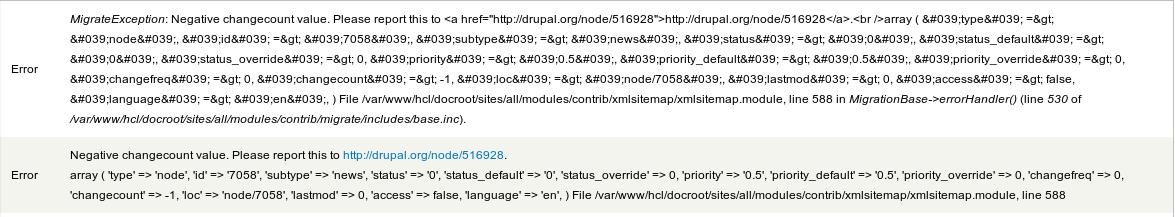negative changecount value error after node creation 516928