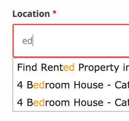 Autocomplete - Improve usability (embolden search in