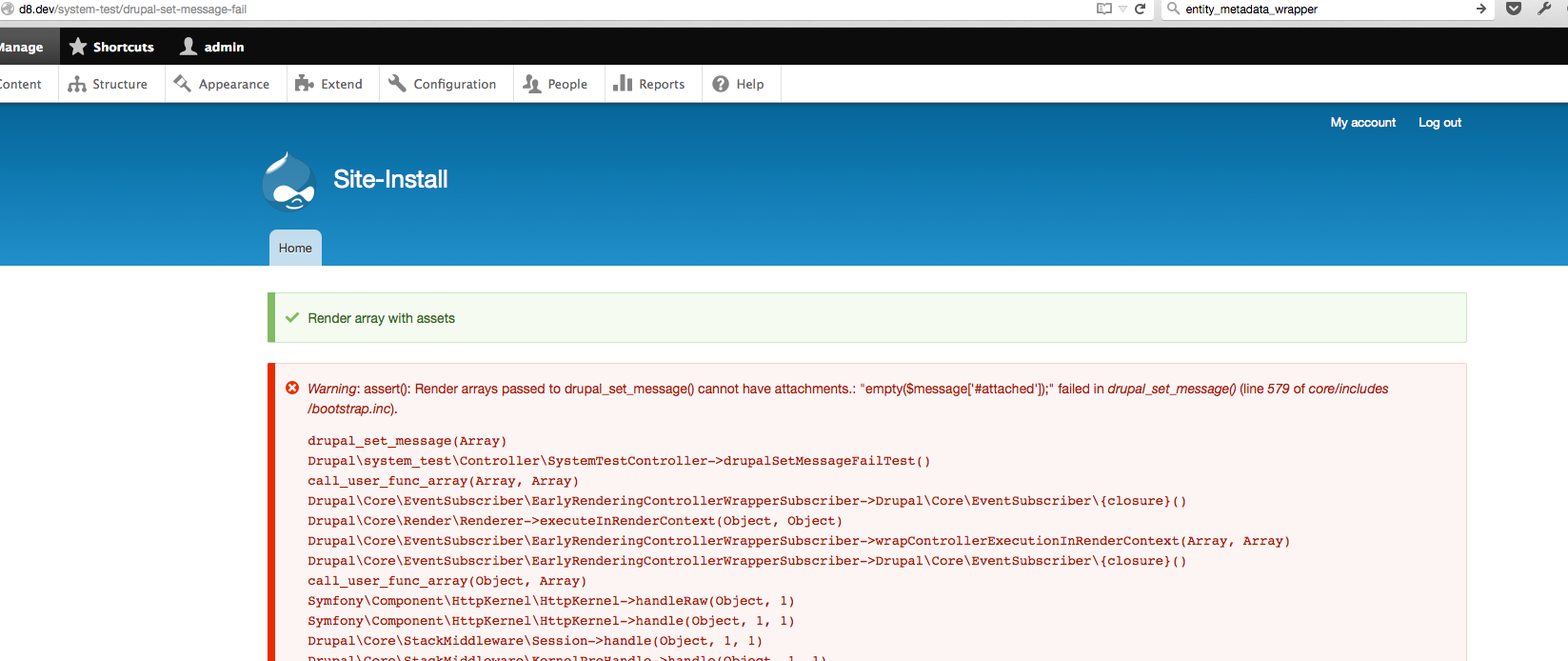Support render arrays for drupal_set_message() [#2505497] | Drupal org