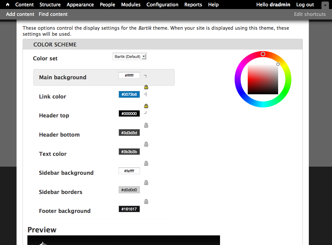 clean up color module settings page 783574 drupal org