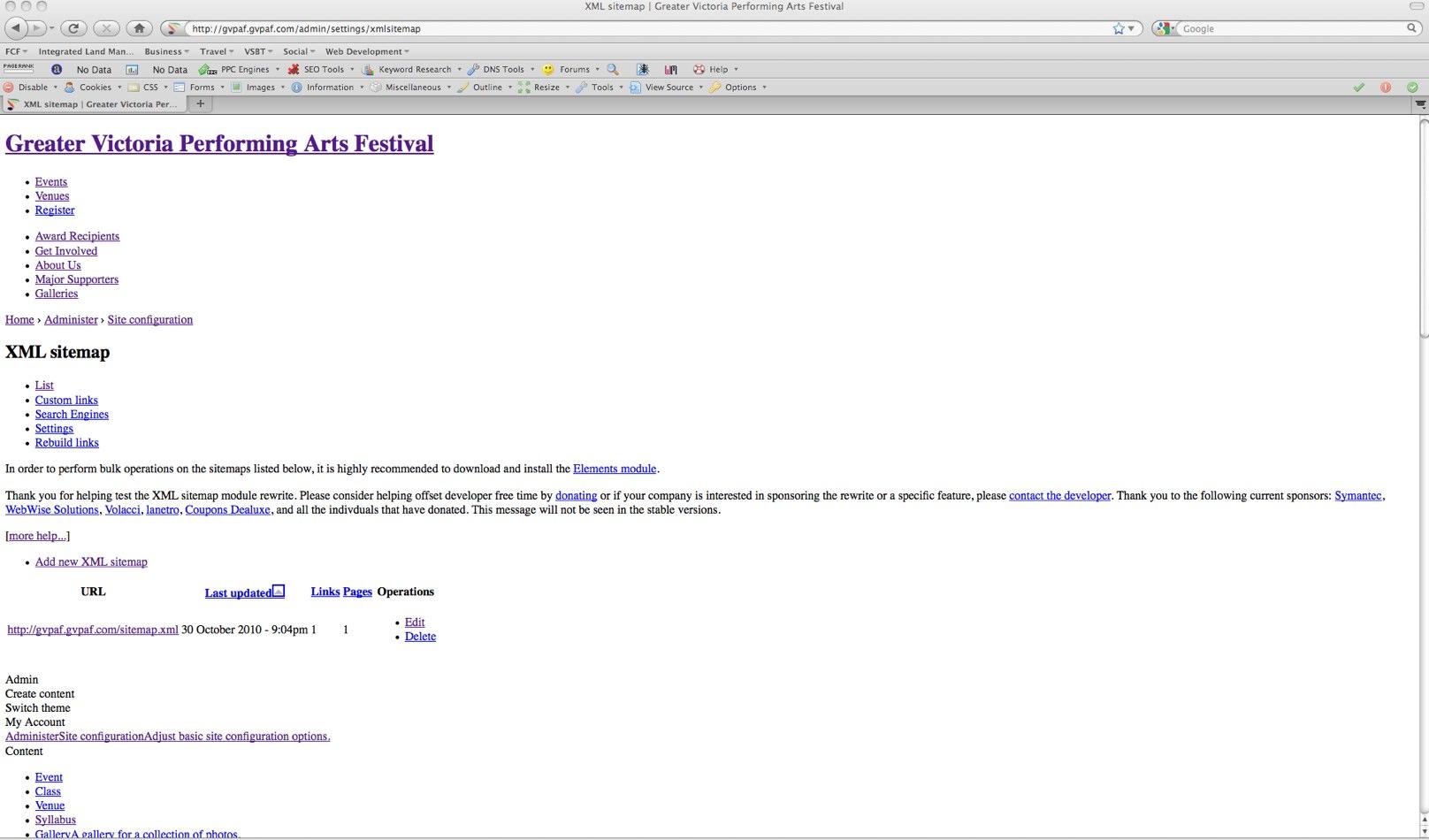 xml sitemap admin page breaks layout 954910 drupal org
