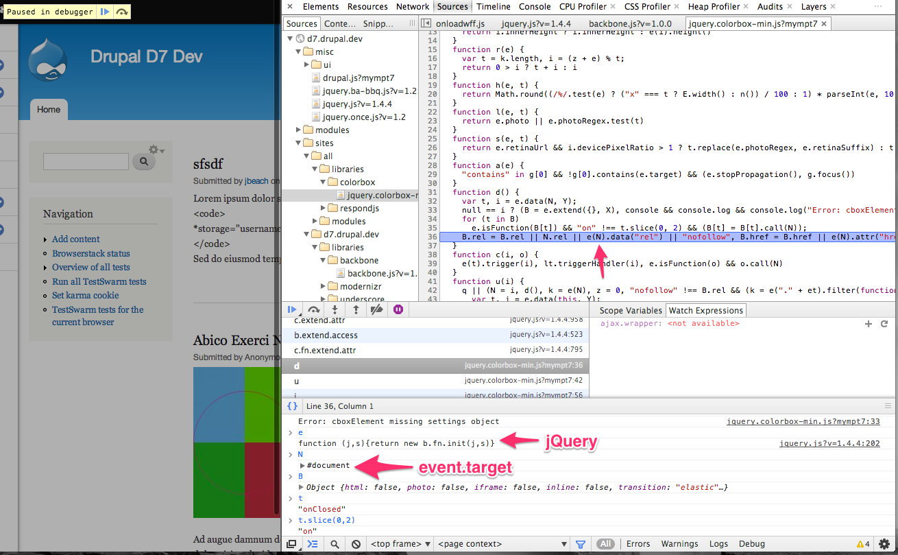 Conflicts with Colorbox and jquery <1 7 due to custom