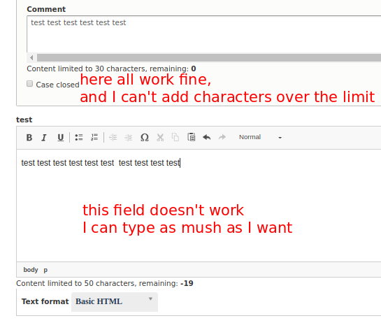 Content limited doesn't work for textarea field with editor