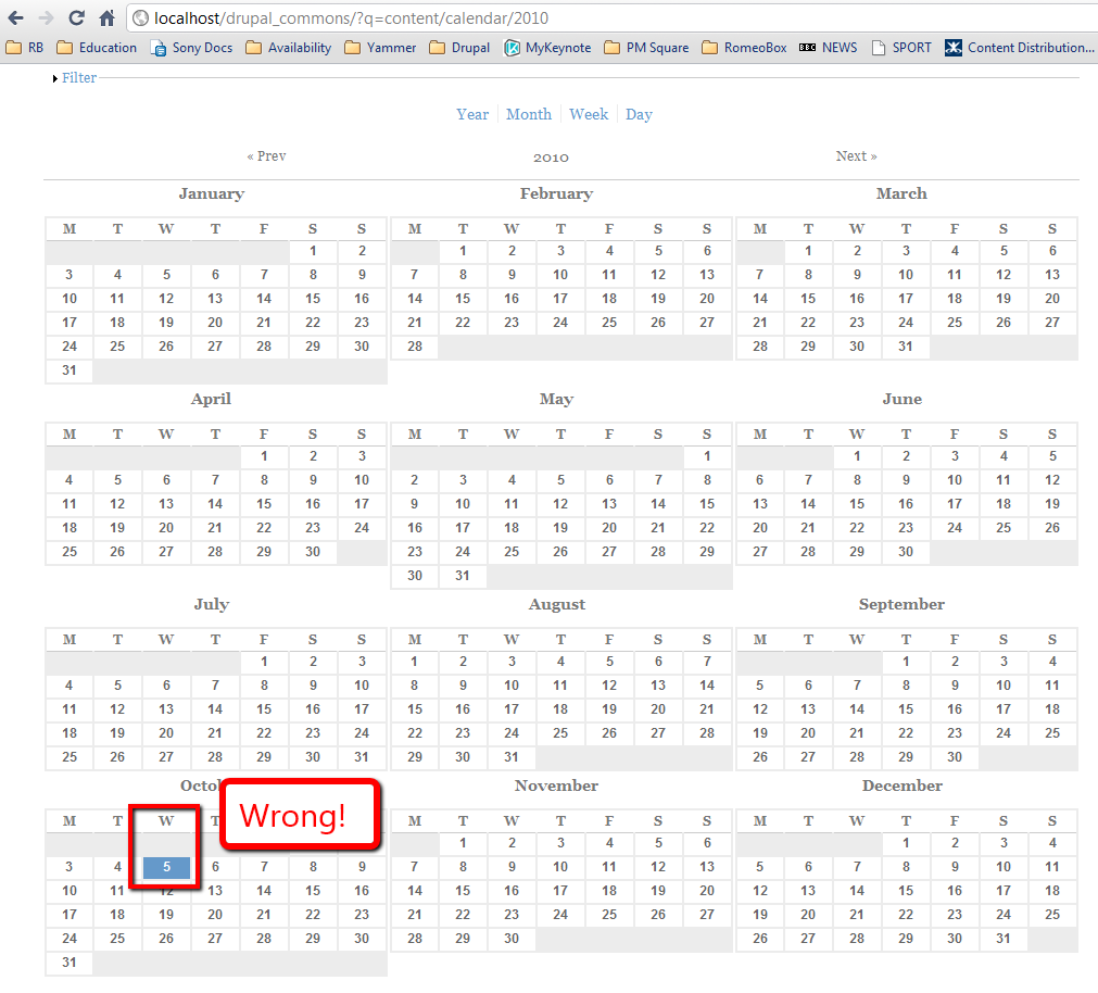 Calendar Year View : Day off by one drupal