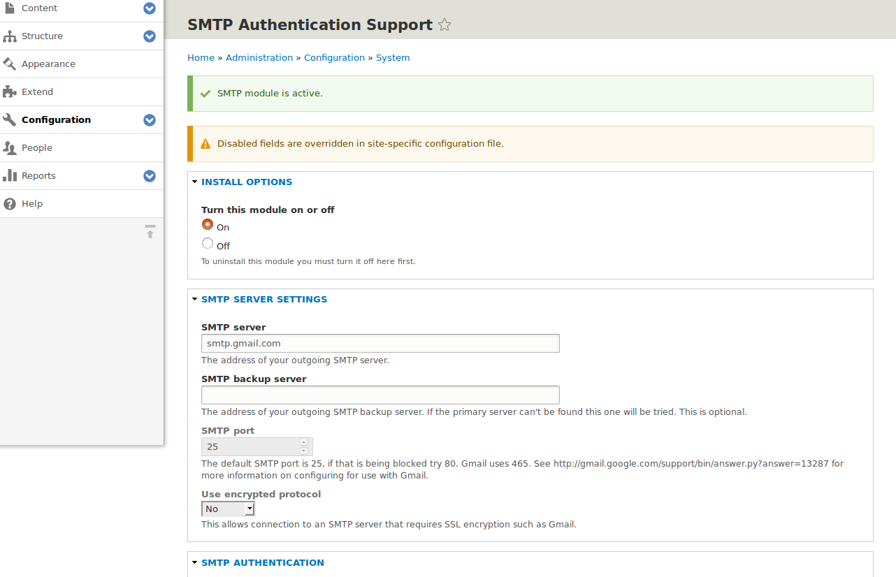Unable to send email from SMTP 8 x-1 0-beta3 in D8 3 7 on
