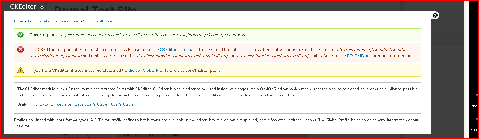 The CKEditor component is not installed correctly on Drupal