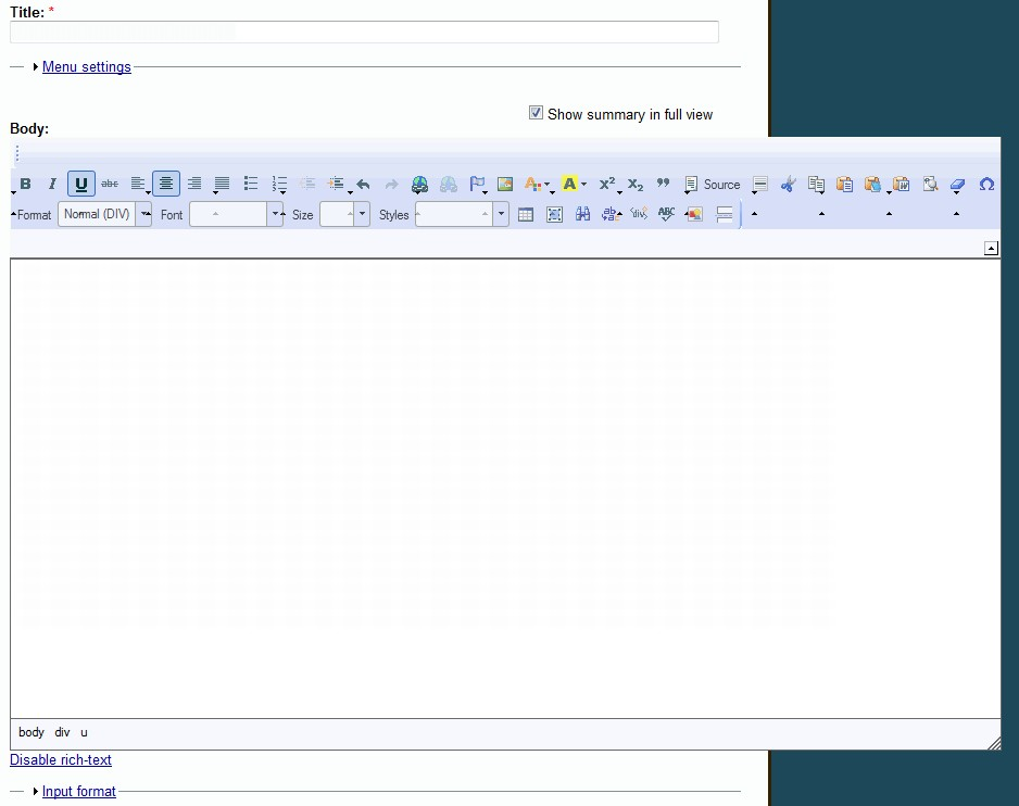 Fixing toolbar for the CKeditor / Using the settings hook