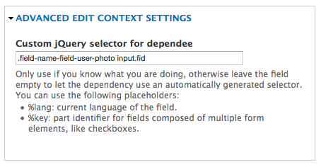image field selector value