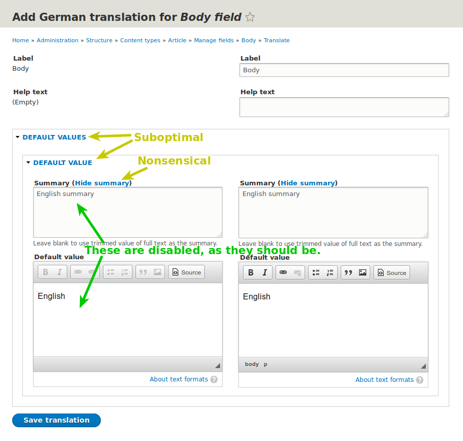 A screenshot of the Configuration Translation UI to translate the default value of a text field with a summary
