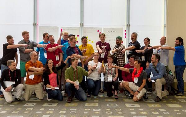 "Members of the ""consensus banana"" discusstion at Drupalcon Austin"