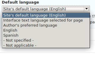 Screen shot of content type language settings with patch